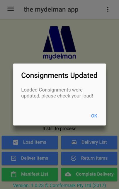 Warning message when consignments were changed after you loaded them.