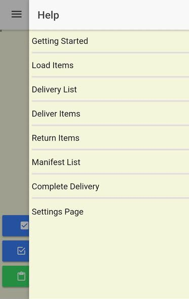 The Help Menu provides a driver with help on specific delivery functions