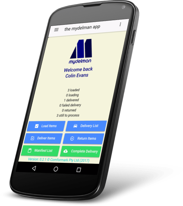 The mydelman Android App home page